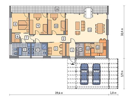 Dom oszczędny - wariant I (z wentylacją mechaniczną) - EC317a - Rzut parteru
