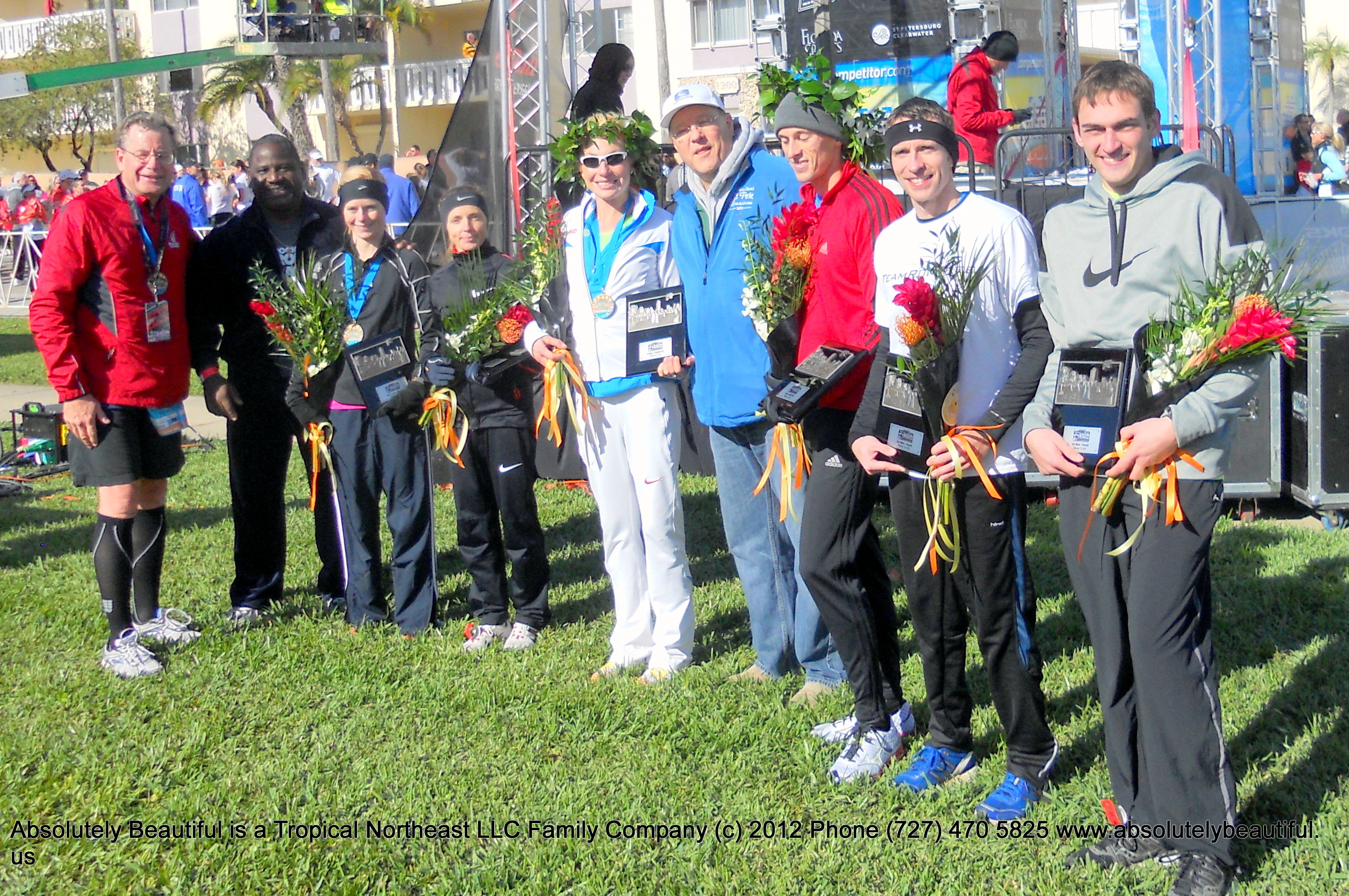 """Photo: Rock 'n' Roll St. Pete Winners with Mayor Bill Foster and City Council Member Wengay M. """"Newt"""" Newton Sr  of the City of St Petersburg Florida with Flowers Made by Absolutely Beautiful Flowers as the Event Florist http://www.absolutelybeautiful.us"""