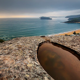 Beach from above by Geoffrey Wols - Landscapes Beaches ( puddle, sunrise, view, high, rocks, central coast, beach, sunset, lion island, water,  )