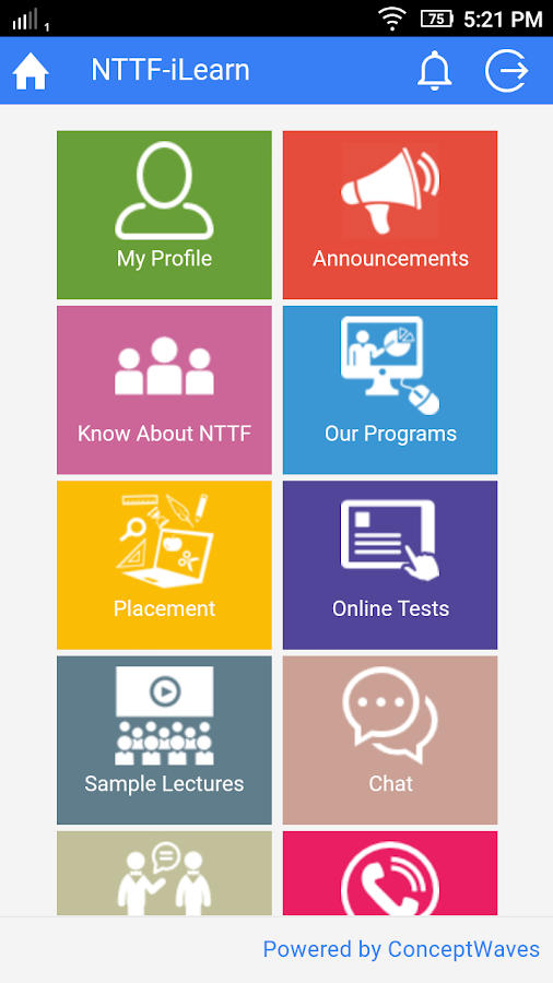 NTTF Mobile App- screenshot