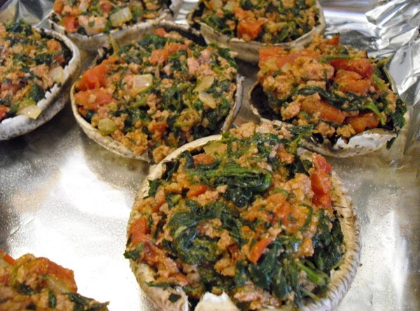 Stuff the mushrooms with the turkey mixture and bake for about 20 minutes. ...