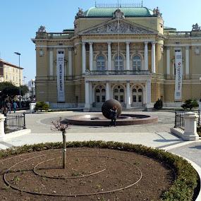 theatre in town Rijeka by Jasminka Lunjalo - Landscapes Travel ( theatre rijeka croatia )