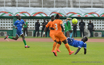 Photo: Alhassan 'Crespo' Kamara makes an overhead kick on goal [Leone Stars v Ivory Coast, 6 September 2014 (Pic © Darren McKinstry / www.johnnymckinstry.com)]
