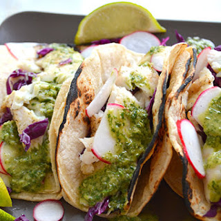 15 minute Fish Tacos with Chimichurri Sauce