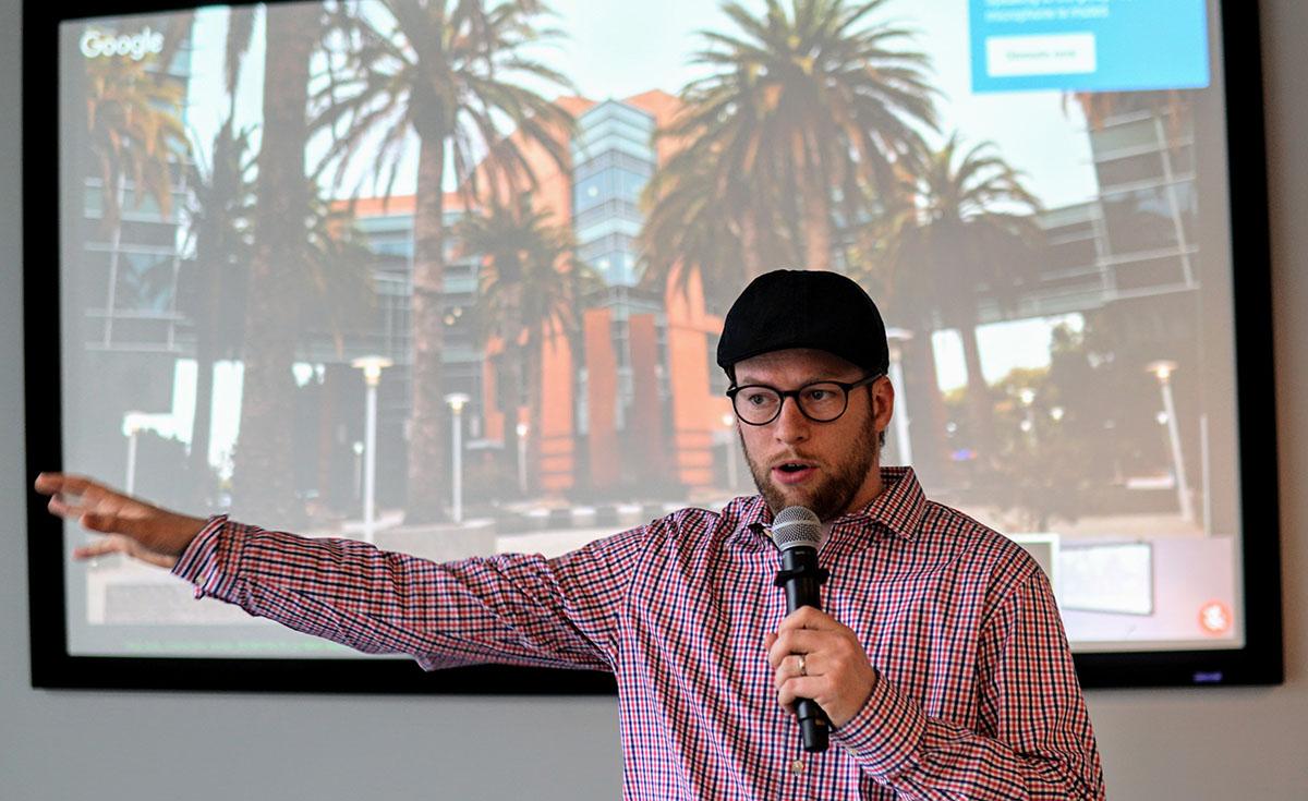Chris Johnson speaking at a Google Design Event