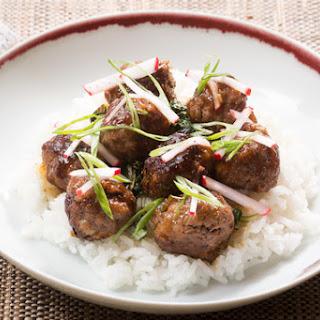 Soy-Glazed Meatballs with Swiss Chard, Jasmine Rice & Marinated Radish.