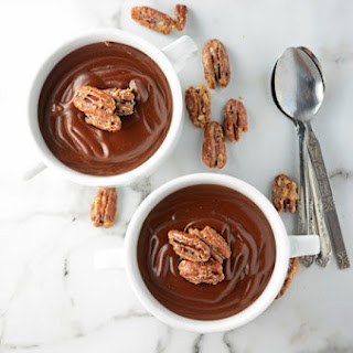 Warm Cocoa Pudding with Candied Pecans