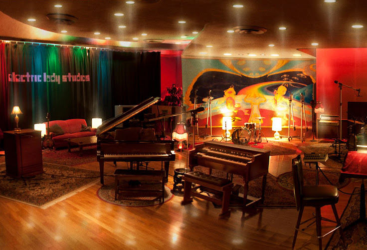 Inside the Electric Lady Studios.  The original psychedelic murals still cover the walls. Photo: Curtis Wayne Millard, courtesy of Electric Lady Studios.