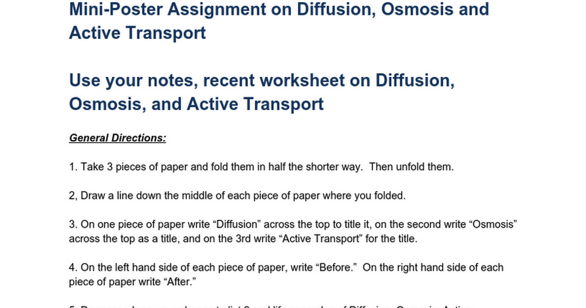 MiniPoster Assignment on Diffusion Osmosis and Active Transport – Osmosis Diffusion Worksheet