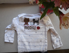 Photo: Completed 26 March 2011. Cat Treat by The Trilogy (2005). Stitched on a onsie using Weeks Dye Works and The Gentle Arts floss.
