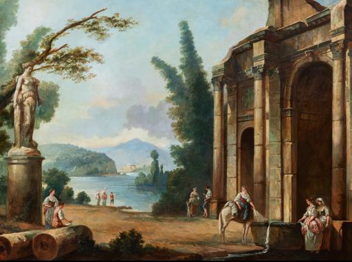 Paysage lacustre avec une architecture à l'antique