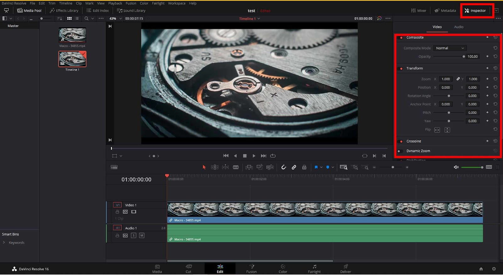how to zoom in davinci resolve