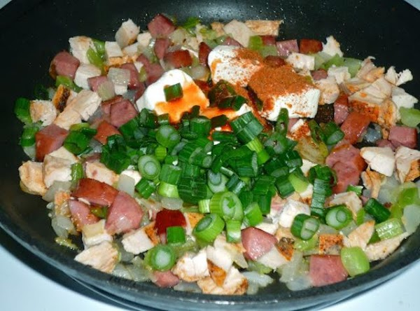 Add cooked chicken breast. When the chicken is warmed through, add the following ingredients:...