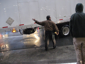 Photo: Edwin helped to direct traffic on 4th street (during rush hour and in the rain!) while coaching and calming the truck driver who was pretty harried after a long drive from Seattle.