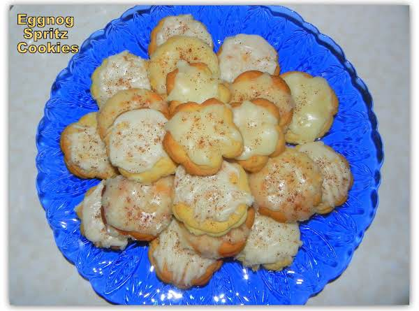 Eggnog Spritz Cookies With Eggnog Rum Glaze Recipe