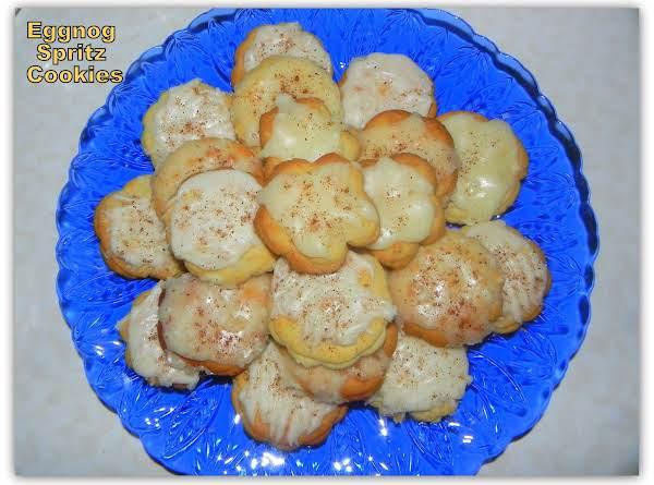 Eggnog Spritz Cookies With Eggnog Rum Glaze