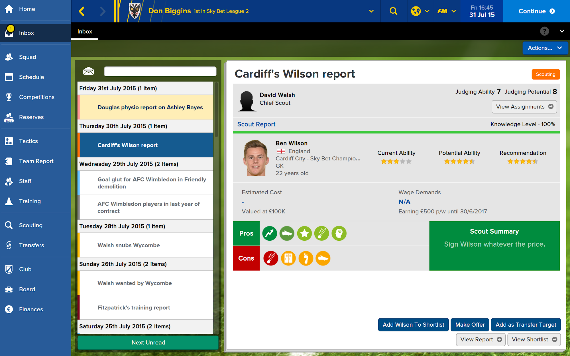 Football Manager Touch 2016 screenshot #7