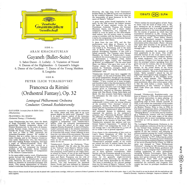 Aram Khachaturian, Deutsche Grammophon, Pyotr Ilyich Tchaikovsky