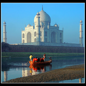 Crossing Jamuna by Sami Ur Rahman - Buildings & Architecture Public & Historical ( jamuna river, taj mahal, reflections, rear view of taj, boat with people )