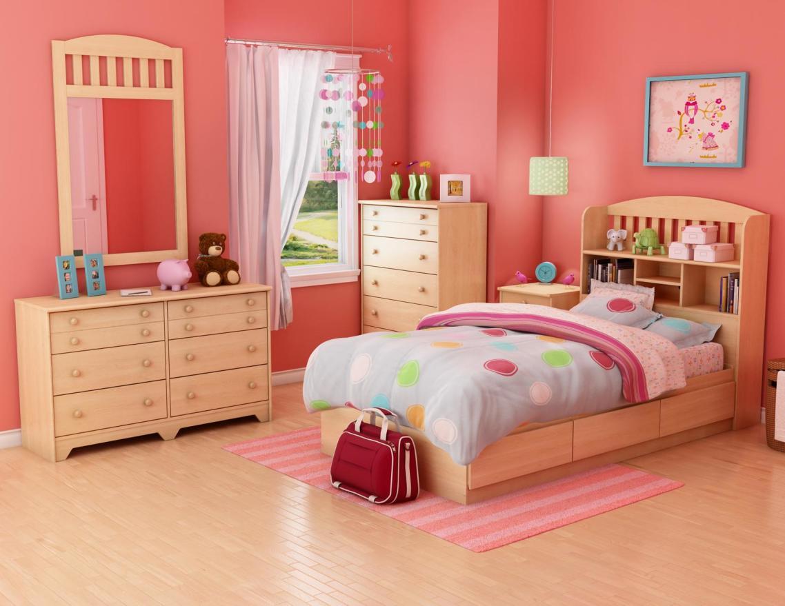 Phòng ngủ với tông màu hồng cam đẹp mắt.