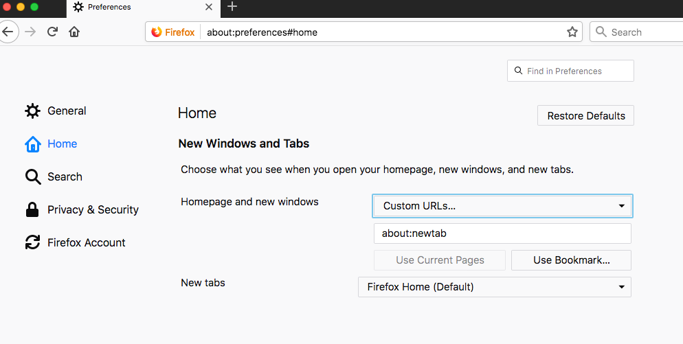 Set about:newtab for Homepage and new windows