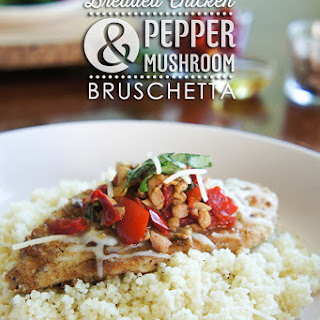 Breaded Skillet Chicken and Pepper Mushroom Bruschetta