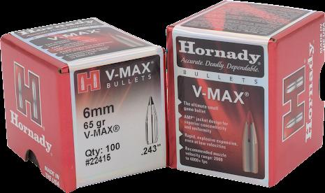 Hornady V-max 6mm/.243 65gr 100st