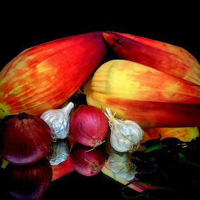 Veggies  by Prince Frankenstein - Food & Drink Fruits & Vegetables ( banana flower, onions, garlic, photography, mobile,  )