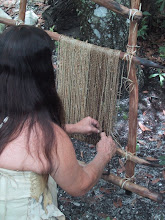 Photo: A reconstruction of an open frame loom that most people in the New World probably used from 10,000 years ago to contact. Saw palmetto, agave, various grass fibers, barks, etc. could all provide fibers in the textile/fiber crafts.