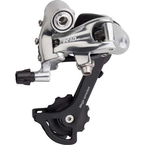 MicroShift R10 Rear Derailleur, 10-Speed, Medium Cage, 34T Max, Shimano Compatible, Silver