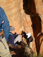 Photo: AA spotting DB up a short climb on Lady Mountain