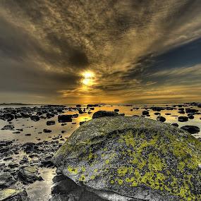 The hardened mass of liquid stones by Frøydis Folgerø - Landscapes Sunsets & Sunrises ( water, sky, sunset, sea, stones, sun )