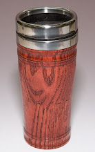 "Photo: Clif Poodry 9""x3"" coffee cup sheath [oak, stained red]  The plans are in the current issue of American Woodturner"