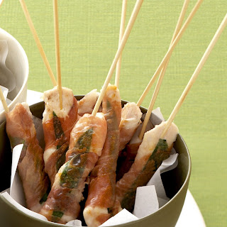 Chicken with Prosciutto & Basil Skewers