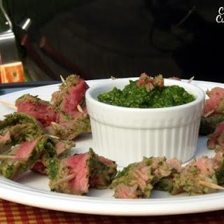 Nicaraguan Style Steak Skewers with Chimichurri
