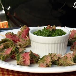 Nicaraguan Style Steak Skewers with Chimichurri.