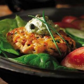 Salmon Burgers with Green Goddess Sauce.