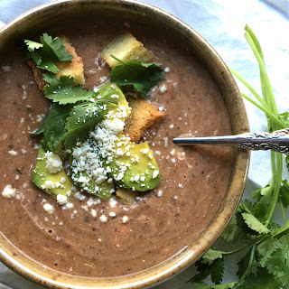 Black Bean Soup with Cotija Cornbread Croutons