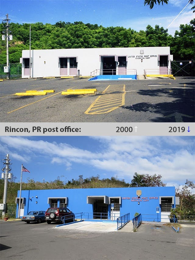 Rincon, Puerto Rico post office, 2000 and 2019