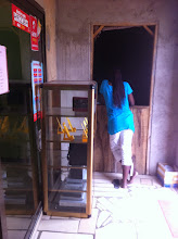 Photo: Slow progress a the former cafe turned primary school print shop... built a door for admin area