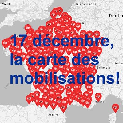 Karte der Mobilisation (cgt).