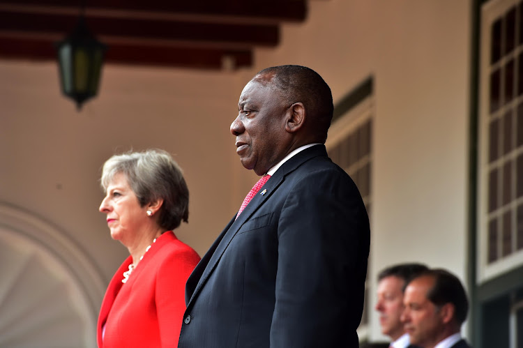 President Cyril Ramaphosa and British Prime Minister Theresa May at Tuynhuys in Cape Town. Picture: SUPPLIED/GCIS