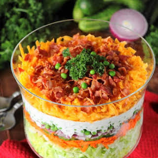 Make-Ahead Layered Salad {For a Crowd} (Printable recipe).