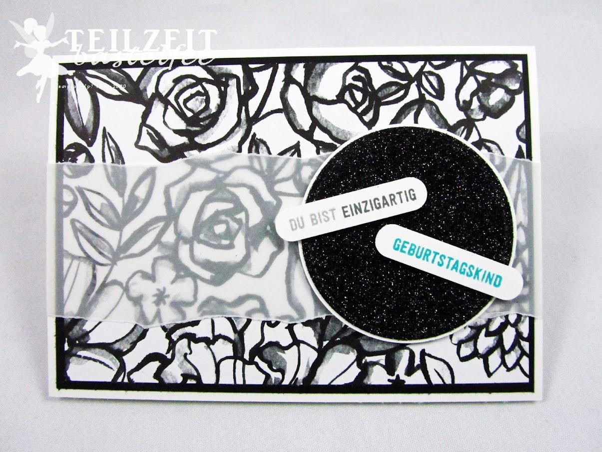Stampin' Up! - Inkspire_me, Sketch Challenge, DSP, Designer Papier, birthday, Geburtstag, flowers, glitter, Bannerweise Grüße, Thoughtful Banners