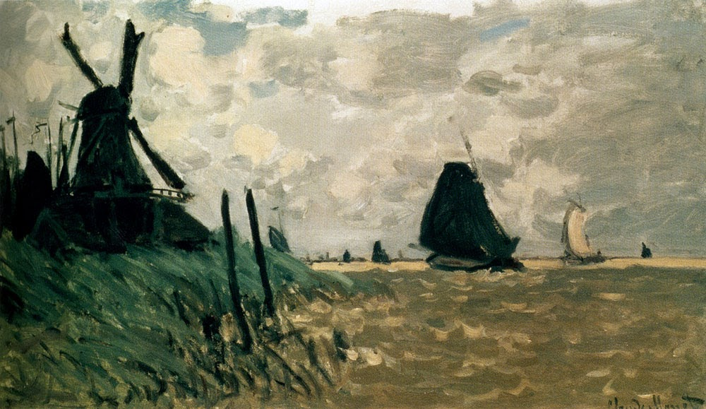 A windmill near Zaandam by Claude Monet 1871.