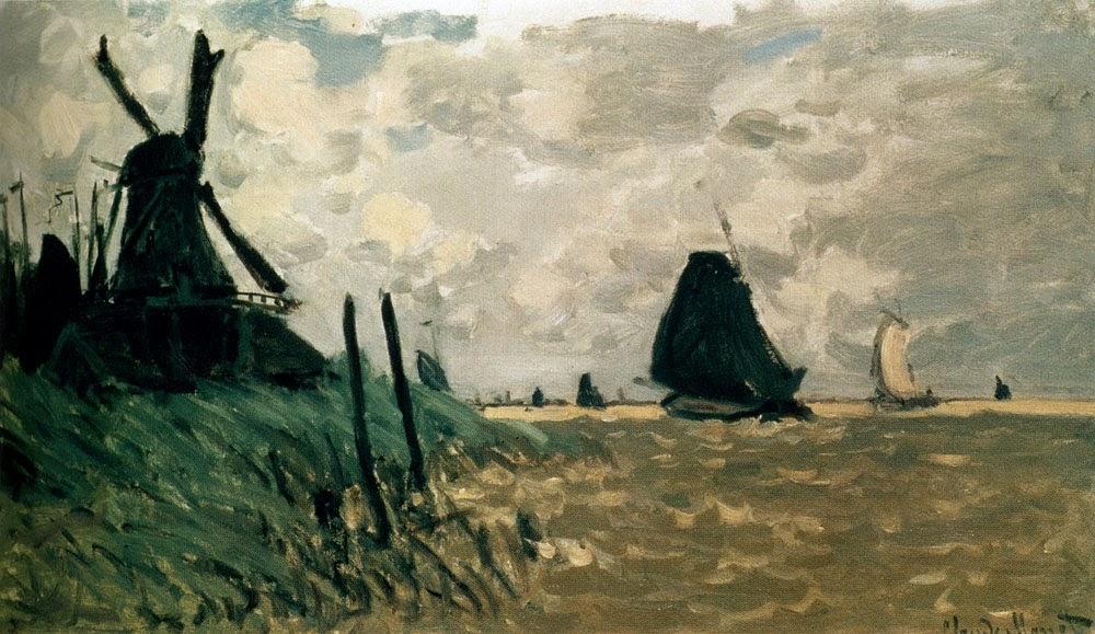 A windmill near Zaandam by Claude Monet 1871.