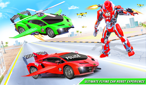 Flying Police Helicopter Car Transform Robot Games screenshots 15