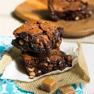 Dark Chocolate Brownies with Caramel and Salted Peanuts.