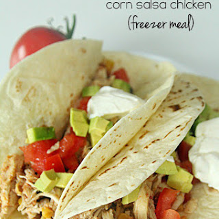 Slow Cooker Black Bean and Corn Salsa Chicken {Freezer Meal}