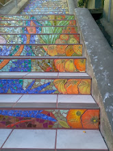 Photo: End of thirteenth full day of work (Sunday, November 13, 2013): Details from upper third of the Hidden Garden Steps (16th Avenue, between Kirkham and Lawton streets in San Francisco's Inner Sunset District), where the 148-step ceramic-tile mosaic designed and created by project artists Aileen Barr and Colette Crutcher has been completely installed. KZ Tile workers remained on site all day to finish grouting the mosaic and the surfaces upon which visitors will walk. For more information about this volunteer-driven community-based project supported by the San Francisco Parks Alliance, the San Francisco Department of Public Works Street Parks Program, and hundreds of individual donors, please visit our website at http://hiddengardensteps.org.